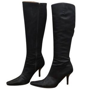 Isaac Mizrahi Heeled Satin Knee Boots